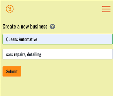 screenshot showing business creation form